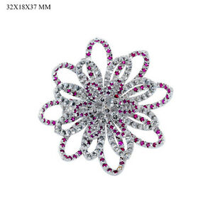 Latest Fashion !! Floral Style 1.97ct Ruby Pave Diamond 18k Gold Ring Jewelry