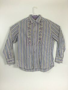 Robert Graham Mens Size XL Striped Multi Colored Embroidered Floral Design EUC
