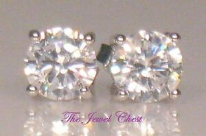 4.00 Ct Round cut Diamond Solitaire Stud Post Earrings White Gold Unisex