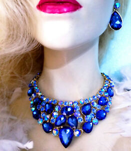 Rhinestone Crystal Statement Choker Necklace Earring Set Blue Pageant Drag Prom