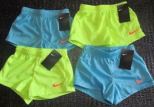 NWT 4 Pairs Nike Girl's Size 6 Mesh Running Shorts Light Blue Yellow 26C215 $20