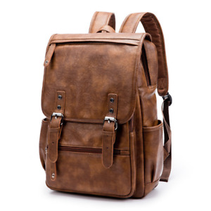 Men's Retro Brown Leather Backpack Travel Casual Bags Laptop Backpack School Bag