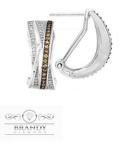 Brandy Diamond® Chocolate Brown Silver Beautiful Crossover Earrings .60 Ct