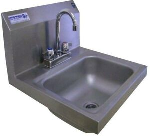 Wall Mount Kitchen Sink 17x17x13 in 2 Hole Single Bowl Stainless Steel New