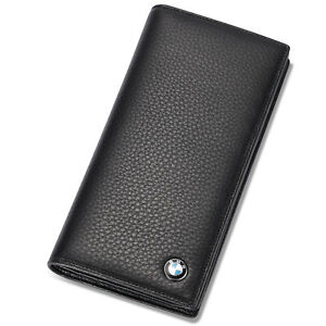 BMW Genuine Leather Bifold Long Men Wallet with 11 Credit Card Slots