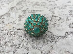 Beautiful Vintage 14K Yellow Gold Green Stones Cluster Cocktail Ring Sz 7.75