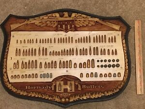 Vintage Hornady Bullet Board Gun Store Display Collection Lead Bullets