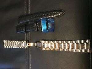 21mm Watch Alligator Leather Strap and Stainless Steel Bracelet