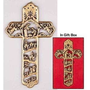Nativity Cross Antique Brushed Gold Tone 5x12 Stone Christmas Wall Sign Plaque