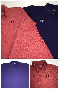(Lot of 2) UNDER ARMOUR Men's Heat Gear Loose Golf Athletic Polo Shirts XL