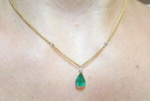 Diamond Emerald yard necklace pendant round pear 14k gold 2ct