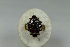 GORGEOUS VINTAGE 10K YELLOW GOLD SIZE 6 GARNET COCKTAIL CLUSTER RING