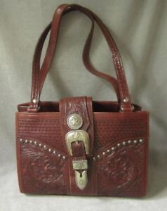 AMERICAN WEST HANDBAG TOOLED LEATHER with Western Silver Studs Concho Buckle
