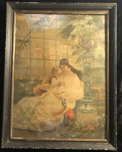 Circa 1880#x27;s Chromolithograph of Mother Daughter in Orig. Frame Likely German $40.00