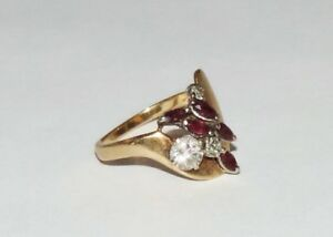 Vintage 14K Yellow Gold Diamond Ruby Cocktail Ring 4.50 Grams 1.15 ct Size 6.5