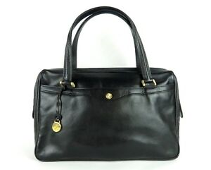 100% Authentic Gold Pfeil Black Leather Hand Bag Made In Germany