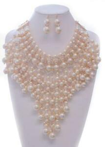 Cream Pearl Beaded and Crystal V Drop Chunky Statement Necklace