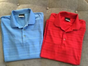 Lot of 2 ~ Boys NIKE Golf Fit-Dry Polo Shirts Red & Light Blue Stripe Sz Large