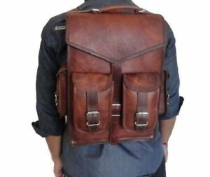 New Men's Real Leather Backpack Laptop Bag Large Hiking Travel Camping Carry On