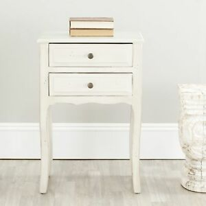 Safavieh Nightstand 26.8 in. H. x 18.1 in. W. x 13 in D. 2-Drawers Storage White