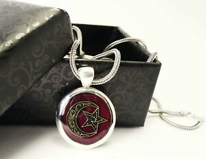 MONTH AND STARS TURKISH BRIDE SILVER MEN NECKLACE CHAIN SILVER 925 BORDEAUX COLO