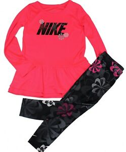 NIKE TD Girl DRI-FIT 2 Piece Set Shirt Long sleeveLeggings PinkBlack Size 4T