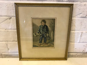 Antique 19th Century George Baxter Print Copper Your Honour The Crossing Sweeper $55.00