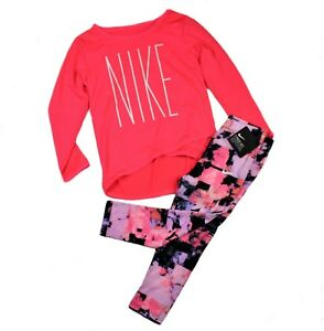 NIKE TD Girl DRI-FIT 2 Piece Set Shirt Long sleeveLeggings PinkBlack Size 3T