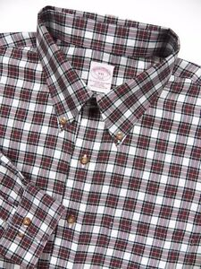 BROOKS BROTHERS MENS XXL CASUAL SPORT SHIRT BLUE RED WHITE CHECK PLAID NON IRON
