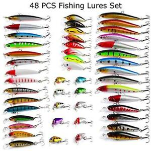48pcs Fishing Lures Kit Mixed Including Minnow CrankBait With Hooks For Trout