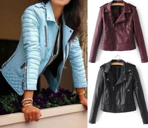 Womens Girls Slim Fit Biker Leather Jacket Motorcycle Coat Outwear New Fashion