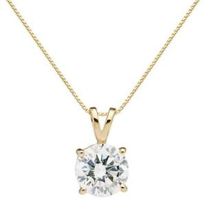 2 Ct Round Brilliant Cut Diamond Pendant Necklace in Solid 14k Yellow Gold