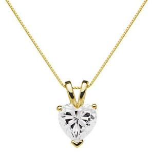 0.5 Ct Heart Brilliant Cut Diamond Pendant Necklace in Solid 14k Yellow Gold