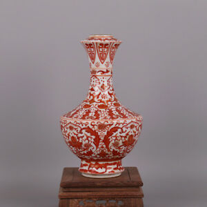 Chinese Old Marked Iron Red Colored Gilt Lotus Flowers Pattern Porcelain Vase