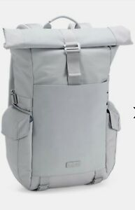 NWT $250 Under Armour Pro Series SC Roll-Top Gray Waxed Canvas Leather Backpack