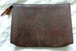 New Authentic Vintage ETRO Burgundy Paisley leather purse pouch cosmetic bag