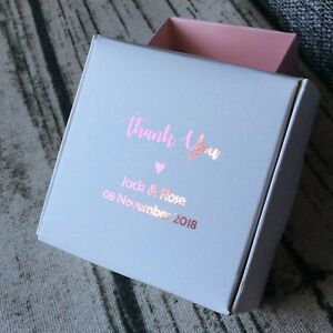 1 Sample Blush Pink Foil Wedding Party Favour Boxes Personalised Gift Candy Box