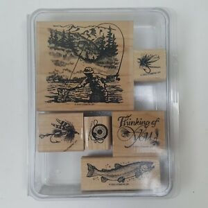 Stampin' Up! Retired Fly Fishing Stamp Set Lure Thinking of You Net Trees
