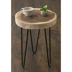 Accent Table 13 in. W x 13 in. D x 19 in. H Hairpin Metal Legs Teak Wood Frame