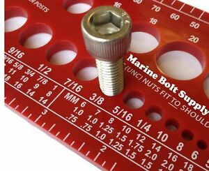 Screw Bolt Nut Thread Measure Gauge Size Checker (Standard & Metric) Color: Red