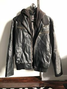 Guess Leather Black Hooded Men Small jacket Motorcycle