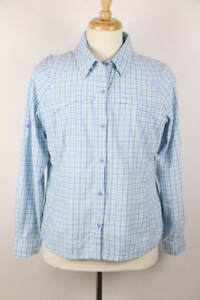 Columbia Blue Purple Check Roll-Tab Long Sleeve Button-Down Outdoor Shirt XL