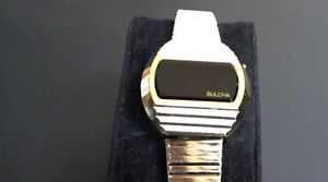 Bulova Men's Vintage LED Watch RedAmber Crystal Case & Bracelet Only