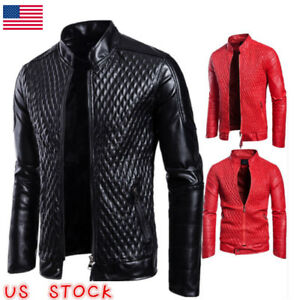 Men's Autumn Leather Jacket Slim Fit Motorcycle Jacket Zipper Casual Coat NEW