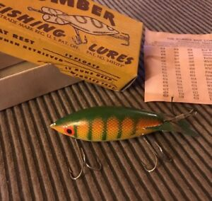Vintage Bomber fishing lure In Early Box Possible Yellow Perch W Original Paper