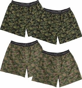 Hanes Red Label Men's Camo Boxers 4-Pack Exposed Waistband Woven