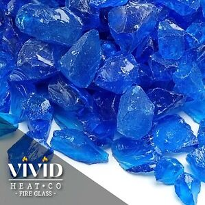 VIVID TURQUOISE BLUE 12 - 34 Large Fireplace Fire Pit Fireglass Glass Crystals