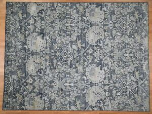 9'x12' HandKnotted Silk With Oxidized Wool Hunting Design Rug G42718