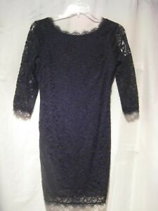 Woosea Vogues ¾ Sleeve Floral Lace Overlay Black Short Cocktail Dress Large NWT
