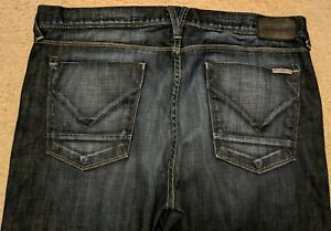 Hudson Mens Clifton Jeans Straight Fit Dark Wash Button Fly Designer Size 36x31